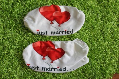 Návleky na zrcátka Just married srdce,