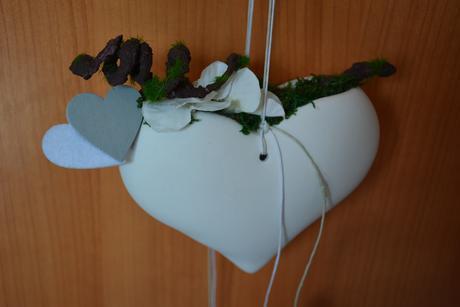 Závěsné srdce dekorace mech,