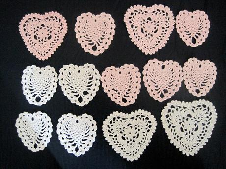 Podtácky pletené růžová bílá srdce,