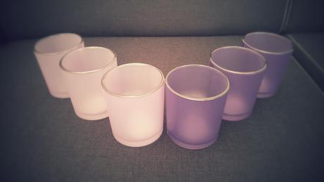 6ks skleněných svícnů na čajové svíčky,