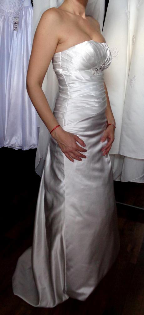Sexi saténové svadobné šaty - veľkosť 36/38 , 36