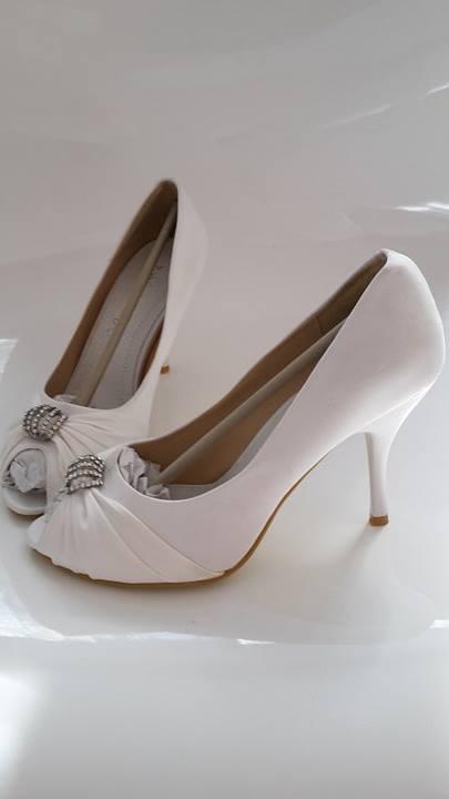 svadobné saténové biele lodičky, 39