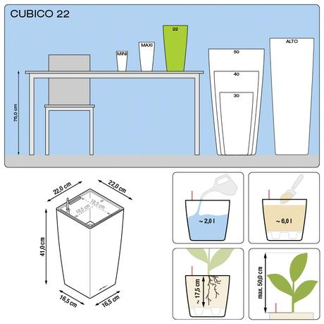 Samozavlažovací kvetináč Cubico 22 Lechuza strieb.,
