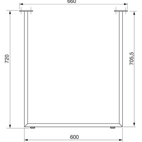 Stolová podnož nerez leštený 60 x 20 mm,