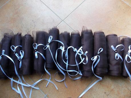 Organza, široká i úzká, čokoládově hnědá,