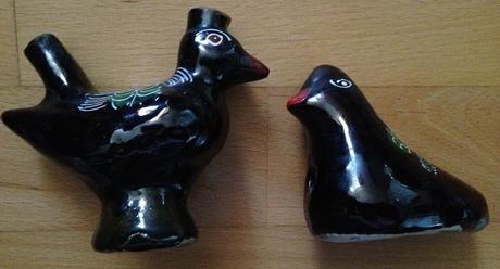 2ks čierne keramické vtáky,