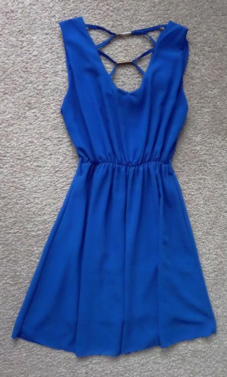 Azurové lehoučké šaty, vel. S - M, M