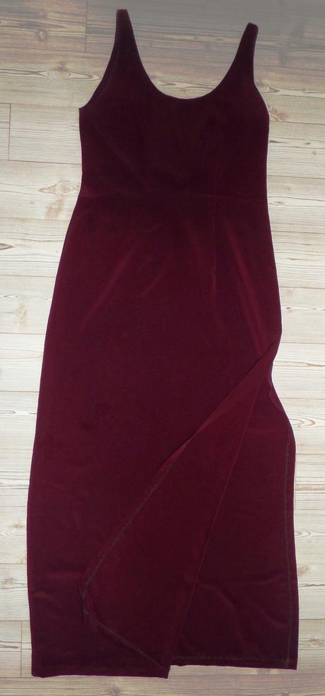 Tmavě vínové elegantní dlouhé šaty, 40