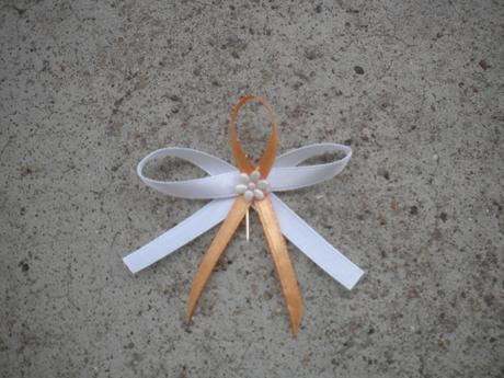Bílo-oranžové mašličky.,