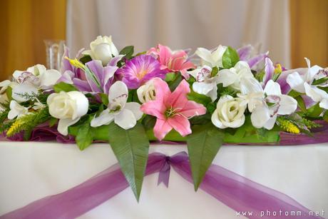 svadobná kytica na vyzdobu svadobného stola,