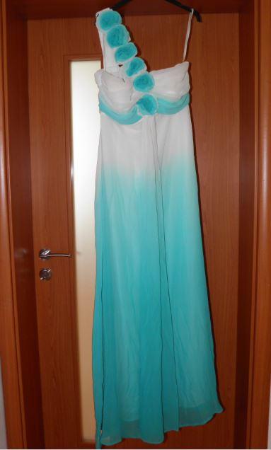 spoločenské šaty dlhé tyrkysovo biele S/36,