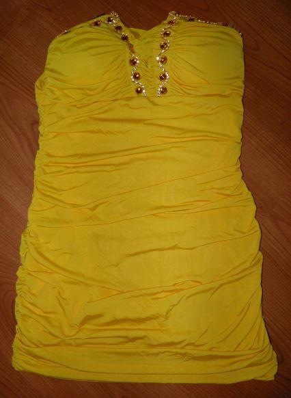 žlté šaty pre XS/S, 36
