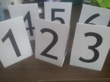 Číslovky na stoly,