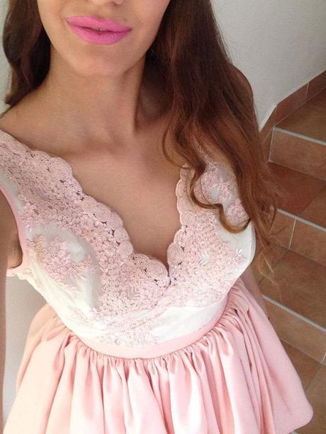 Ružové spoločenské šaty, S