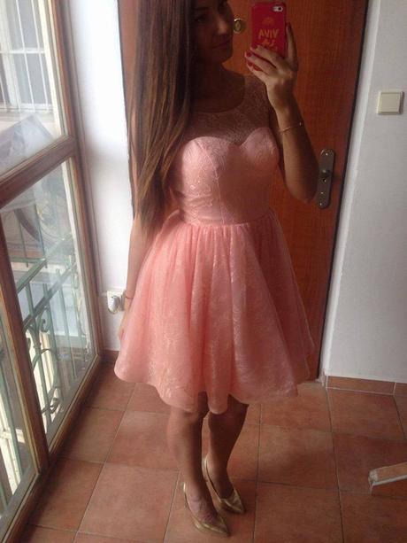Spoločenské šaty lososová farba, M
