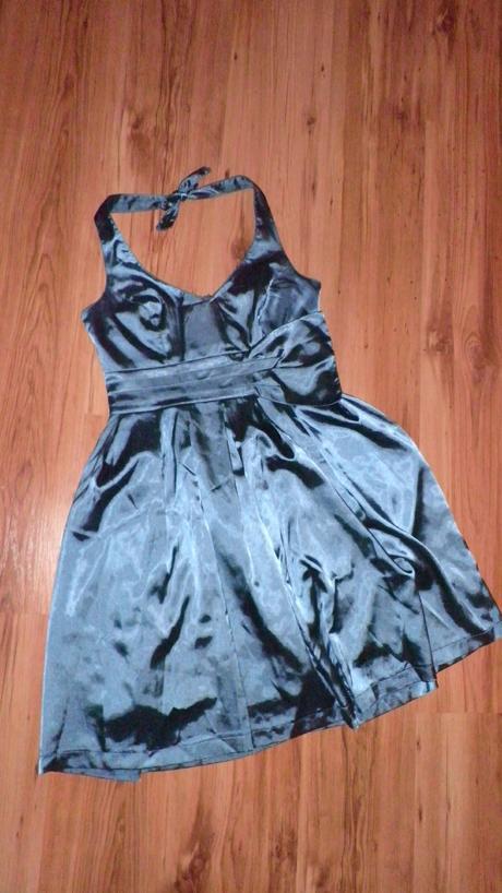 petrolejovo-tyrkysové saténové šaty ORSAY, 38