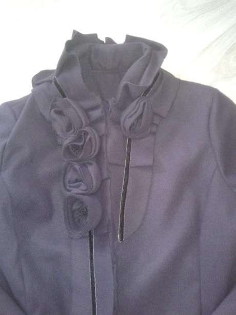fialkový trendy kabát, L
