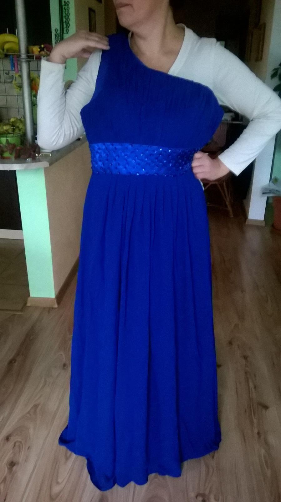 Modré spoločenské šaty 46 48 61deb959bdc