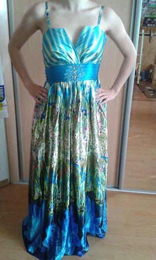 Saténové elegantné dlhé šaty., 36
