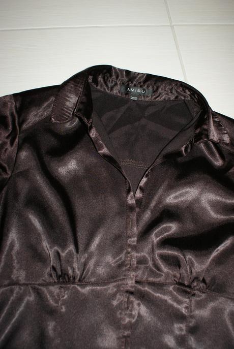 Cokoladova satenova bluzka - zn. Amisu, XS