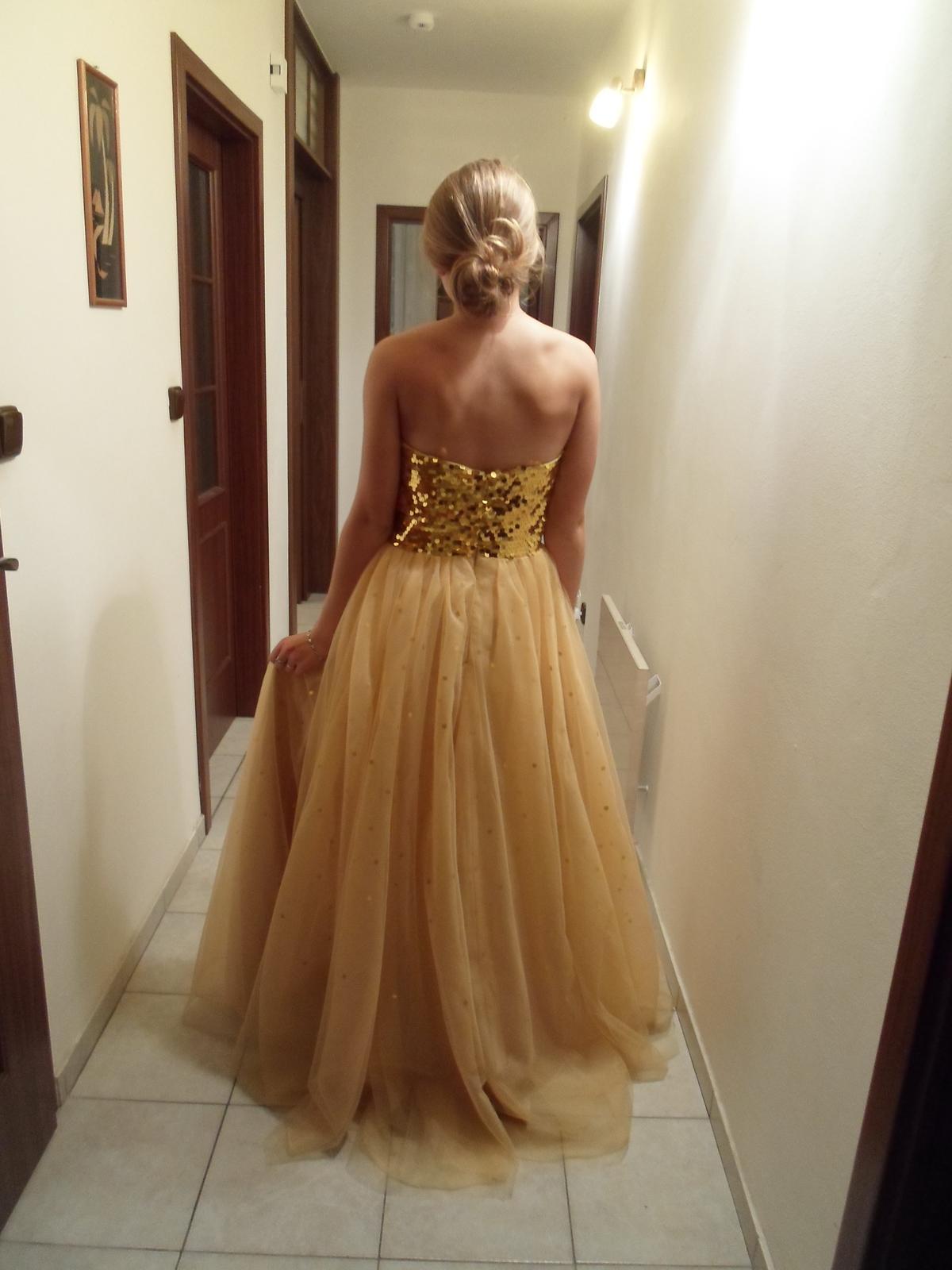 0c7772d28fd Zlaté dlouhé večerní šaty