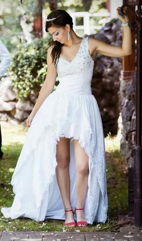 Extravagantne svadobne šaty 34-38 asymetricke, 36