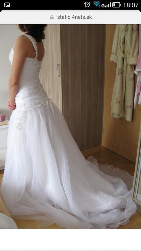 bílé svatební šaty s vlečkou (vel.36-38), 38
