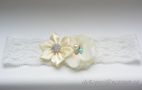 Krajkový podvazek s modrou kytičkou S-XXXL, M