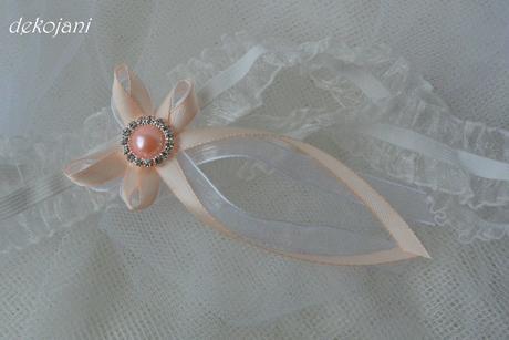 Svatební podvazek s meruňkovou broží S-XXXL, L