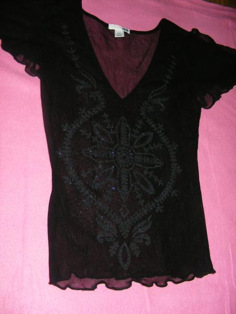 Čierne elastické sieťované tričko - H&M, M