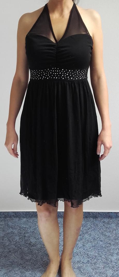 Černé šaty se zavazováním za krk, 38