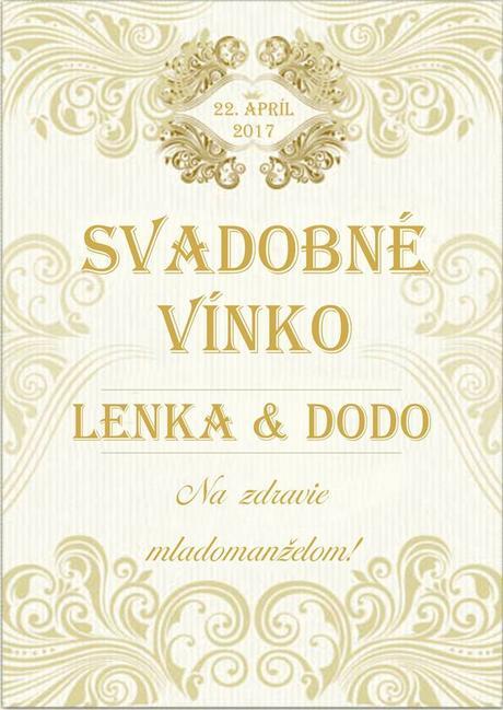 etiketa na víno zlate,