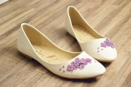 Svadobné balerínky s fialovým dizajnom 36 a 37, 36