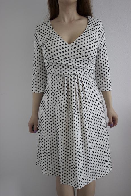 Retro bodkované šaty, L