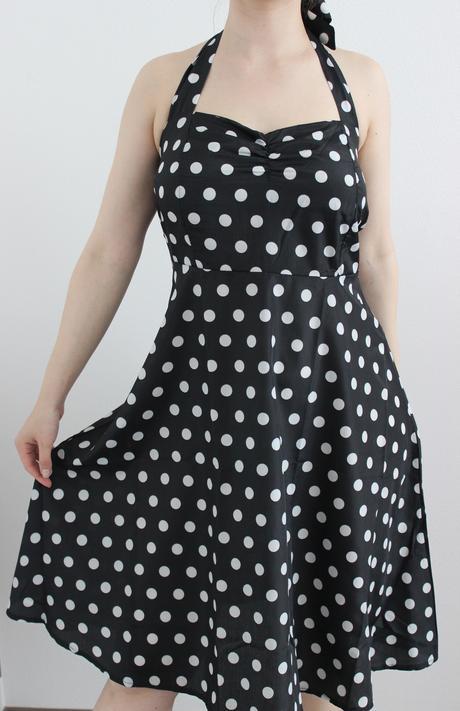 Retro bodkované šaty, M