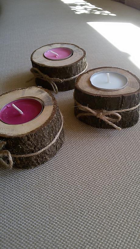 Dřevěné svícínky,