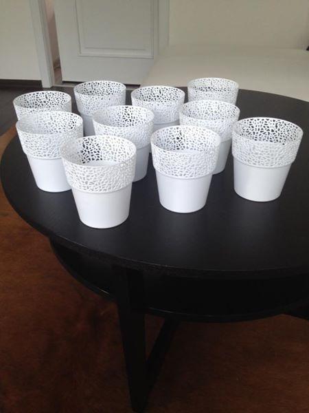 bílé plastové květináčky,