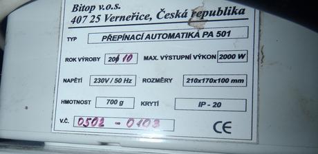 Atmos-prepinacia automatika PA 501,