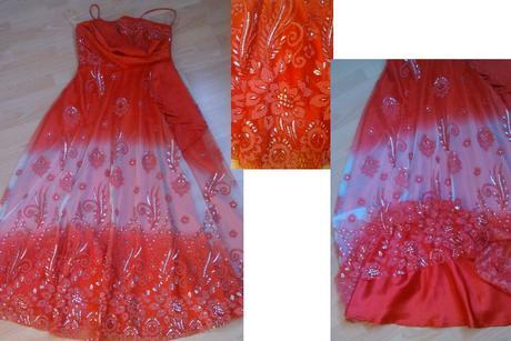 Dlhé červené šaty s kamienkami, 40