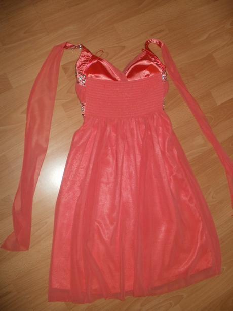 Krátke lososové šaty s kamienkami, S