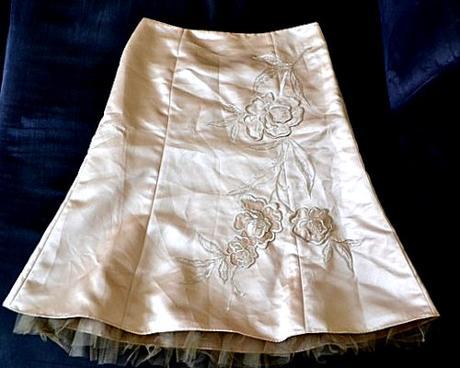 Dámská společenská zlatá sukně s tylem vel. 40, 40