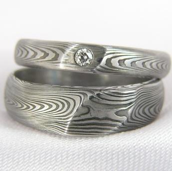 Pár snubních prstenů Waverir s diamantem,