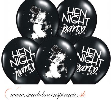 "Balóny ""HEN NIGHT PARTY"" - Čierna (10 ks) ,"