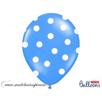 """Balóny """"POLKA DOTS"""" - Modré (6 ks) ,"""
