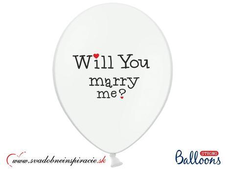 """Balóny """"WILL YOU MARRY ME"""" - Biele (10 ks) ,"""