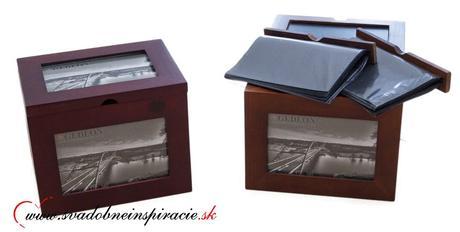 Darčekový drevený box s fotoalbumami,