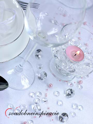 Dekoračné kamienky - DIAMANTÍKY malé (biele)100 ks,