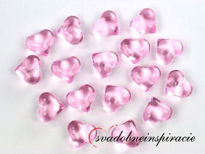 Dekoračné kamienky - srdiečka (ružové), 30 ks ,