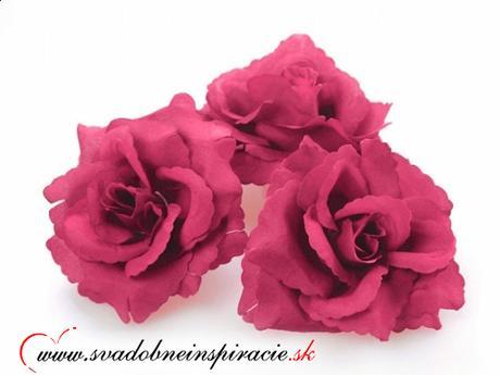 Dekoračné kvietky prilepovacie - RUŽE Fuchsia 24ks,