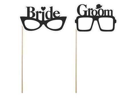 """Kartičky na fotenie """"BRIDE & GROOM"""","""